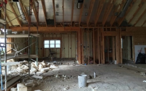 Interior of a building being worked on during the day