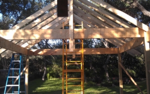 Patio covr extension frame being built