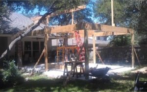 Patio on a house getting a new frame built