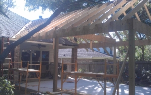 Side view of a patio cover being constructued